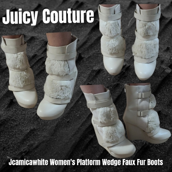 Juice couture wedge faux fur cream boots 9m